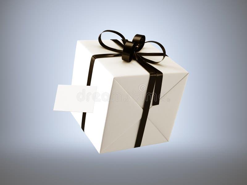 Белая подарочная коробка при черный смычок ленты и пустая визитная карточка, изолированные на серых, мягких тенях 3d представляют бесплатная иллюстрация