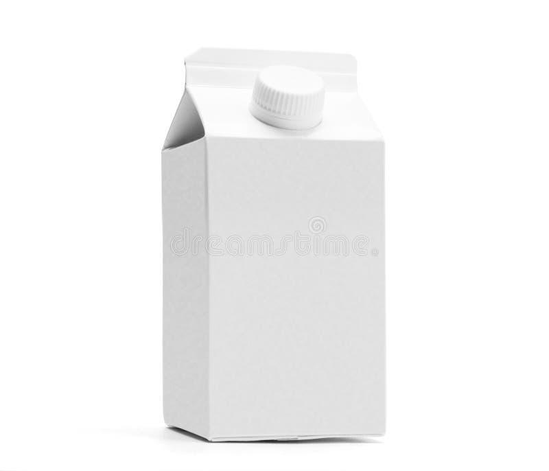 Белая половина модель-макета коробки молока литра стоковое фото rf