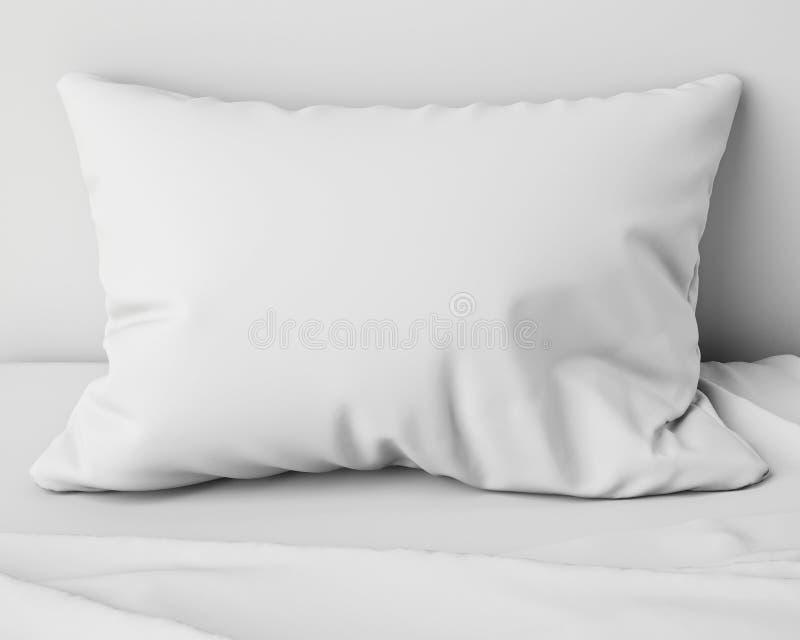 Белая подушка на кровати, предпосылка иллюстрация вектора
