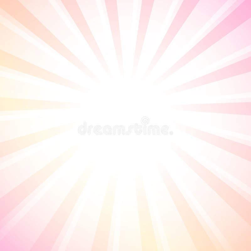 Белая предпосылка взрыва звезды лучей, пастельные цвета иллюстрация штока