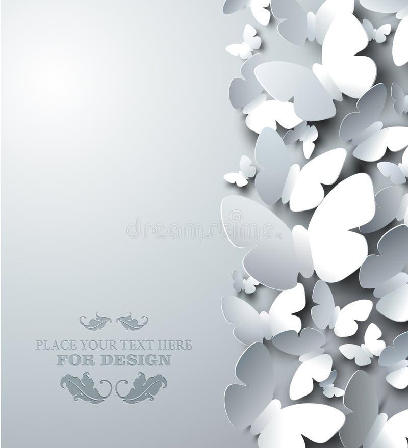Белая предпосылка с бабочками выреза, вертикальный состав иллюстрация штока