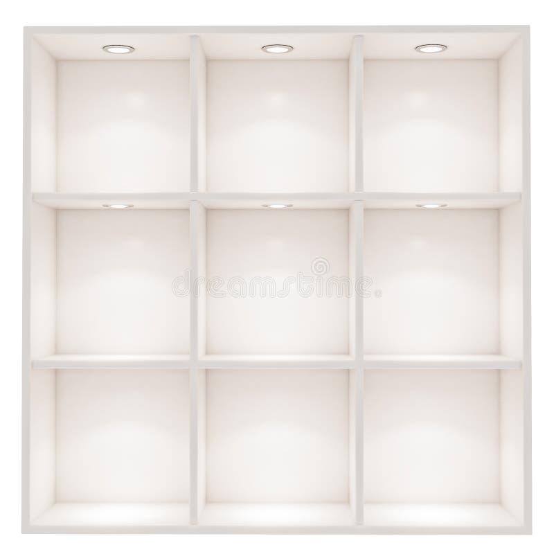 Белая пустая коробка shelves при свет пятна изолированный на белой предпосылке стоковое изображение