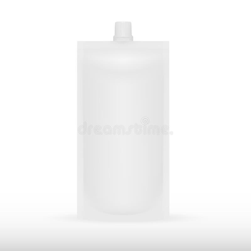 Белая пустая упаковка сумки пакета Doy еды или питья фольги Иллюстрация изолированная на предпосылке Насмешка вверх, шаблон модел бесплатная иллюстрация