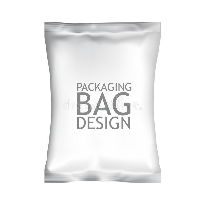 Белая пустая упаковка сумки саше закуски еды фольги стоковая фотография rf