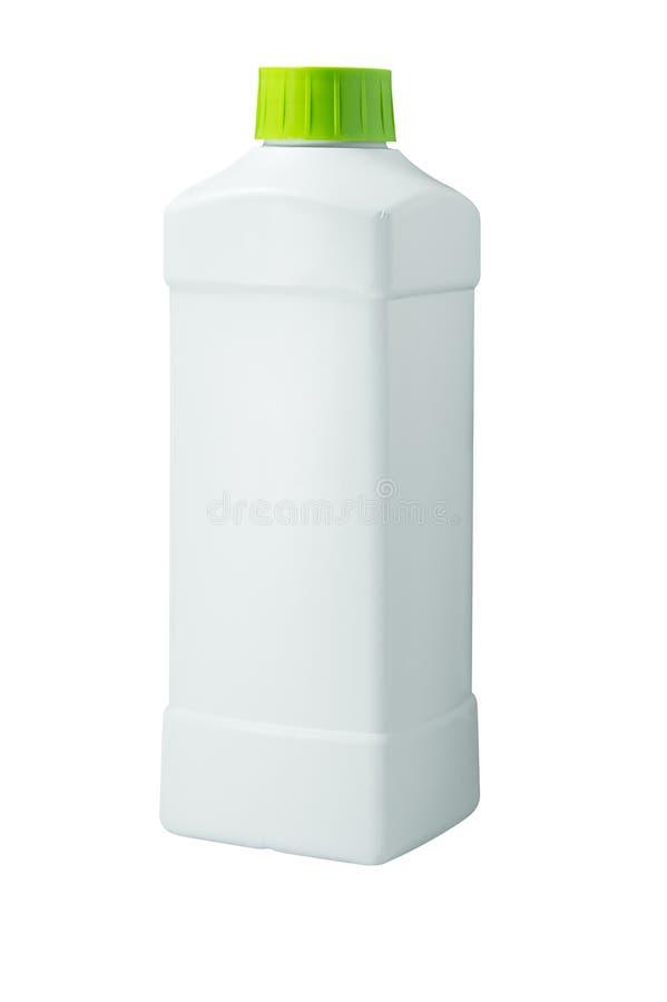 Белая пластичная крышка бутылочного зеленого изолированная на белизне стоковое изображение