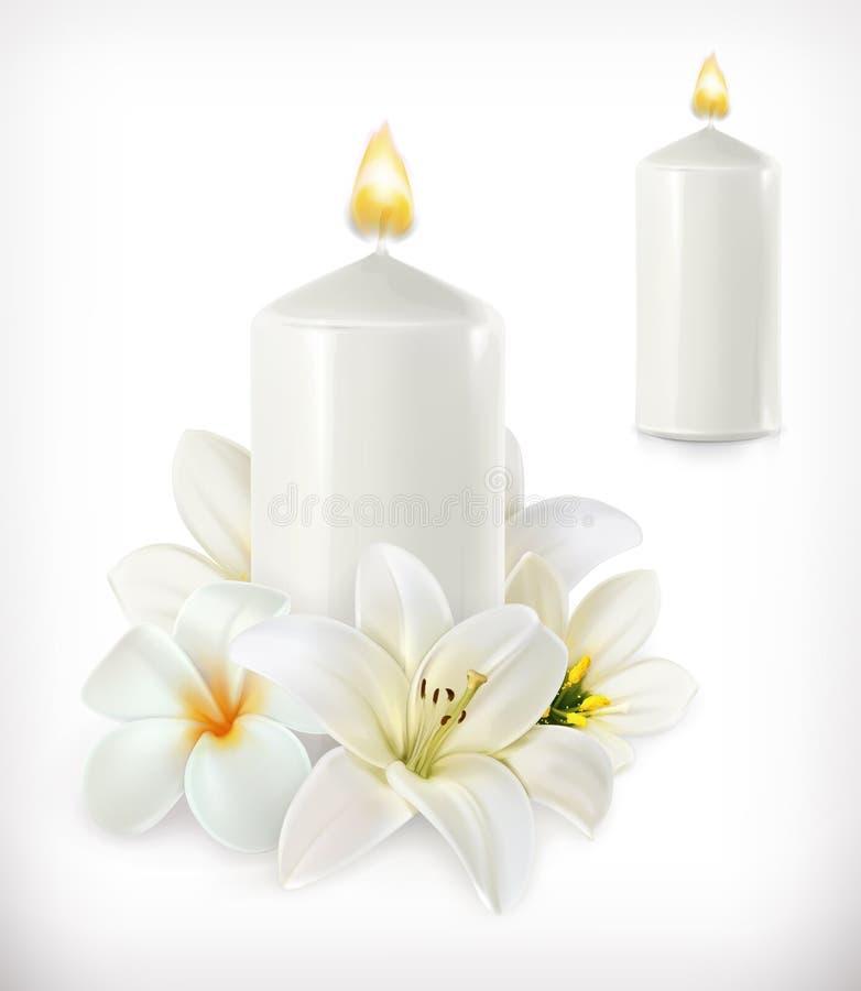 Белая свеча и белые цветки иллюстрация вектора