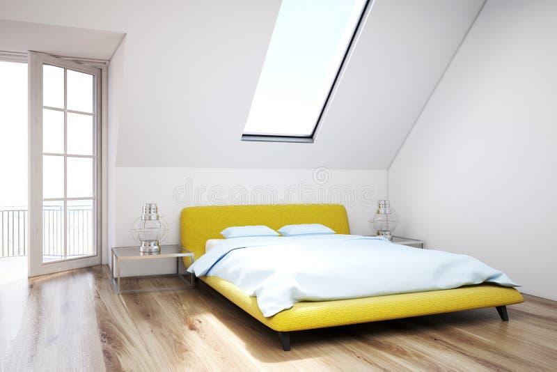 Белая спальня чердака, деревянный пол, крупный план иллюстрация вектора