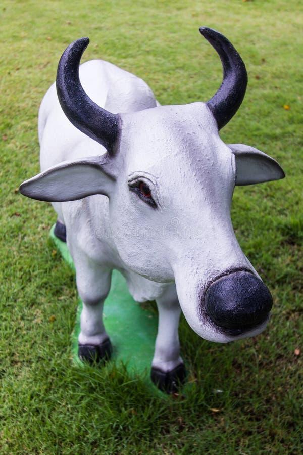 Белая статуя коровы в лужайке стоковое фото rf
