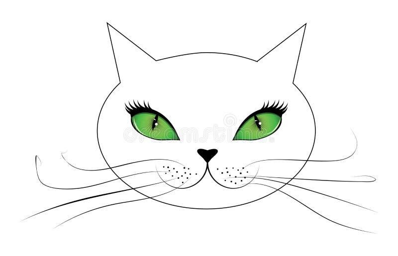 Белая сторона кота с зелеными глазами бесплатная иллюстрация