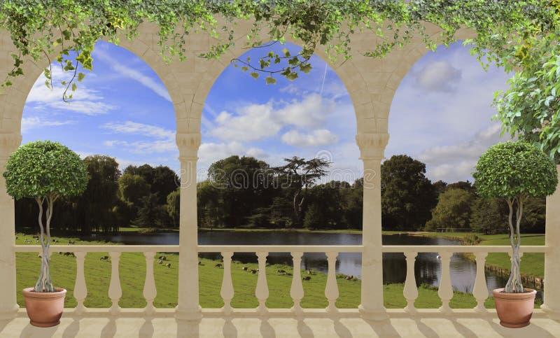 Белая терраса при своды обозревая озеро и парк стоковое фото