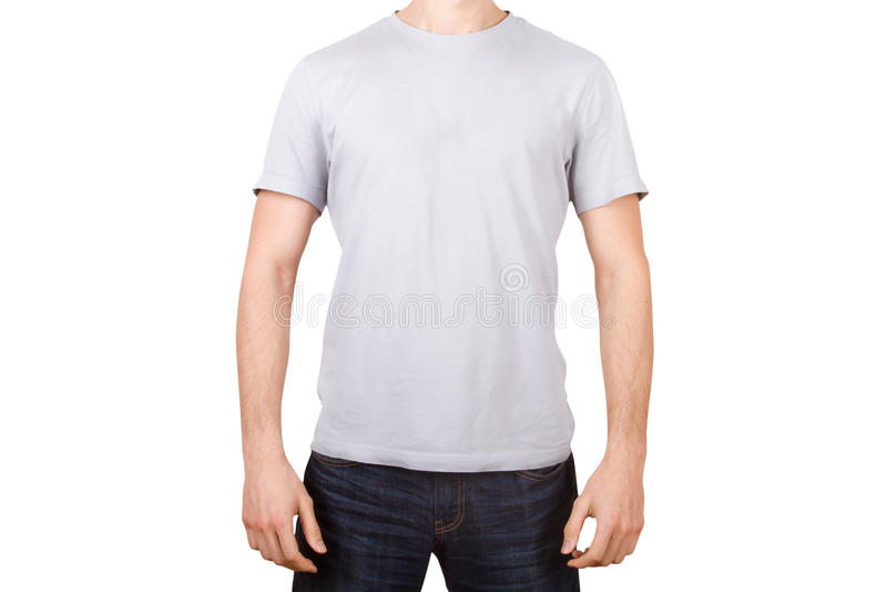 Белая футболка на молодом человеке стоковое фото rf