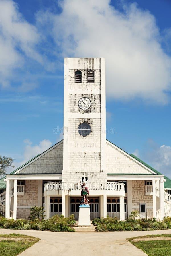 Белая церковь на острове Tongatapu стоковая фотография rf