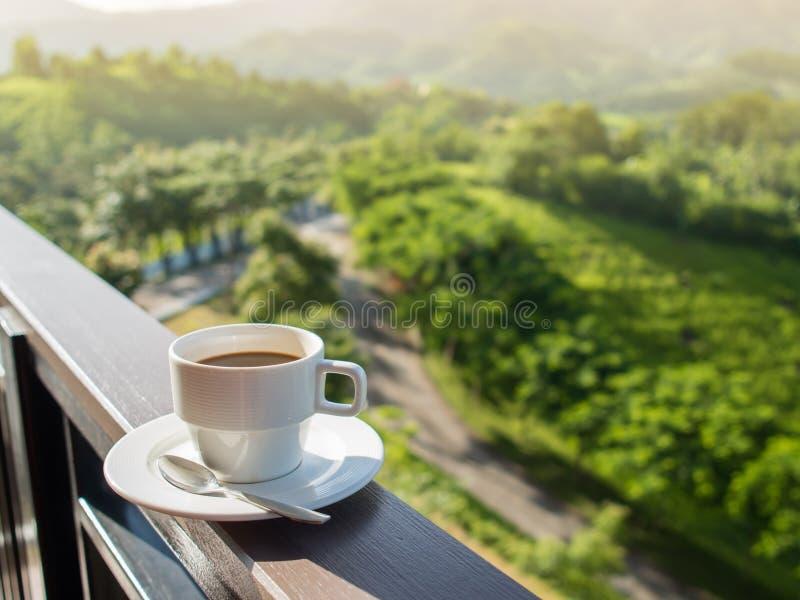 Белая чашка горячего кофе на балконе с естественным и горами стоковое изображение rf