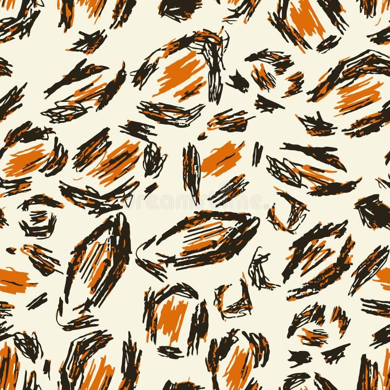 Белая, черная, красная, оранжевая кожа леопарда Безшовный ягуар предпосылки картины Печать сафари животная Текстура Африки Обои в иллюстрация вектора