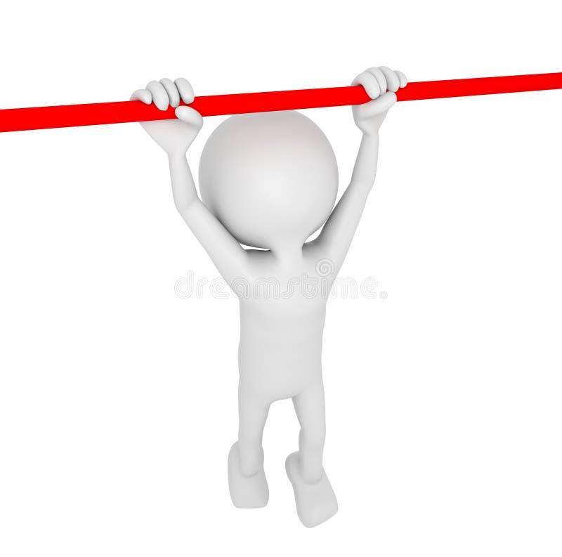Белая человеческая смертная казнь через повешение 3D на баре иллюстрация вектора