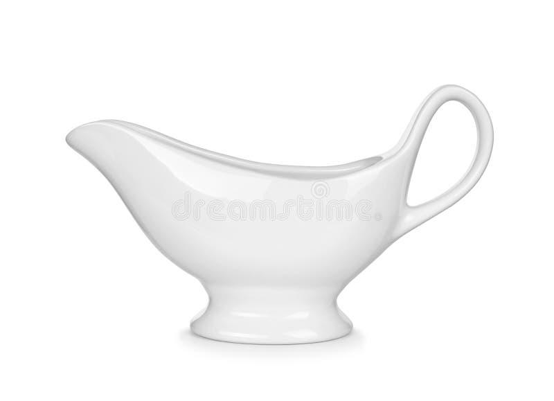 Белая шлюпка подливки стоковая фотография rf