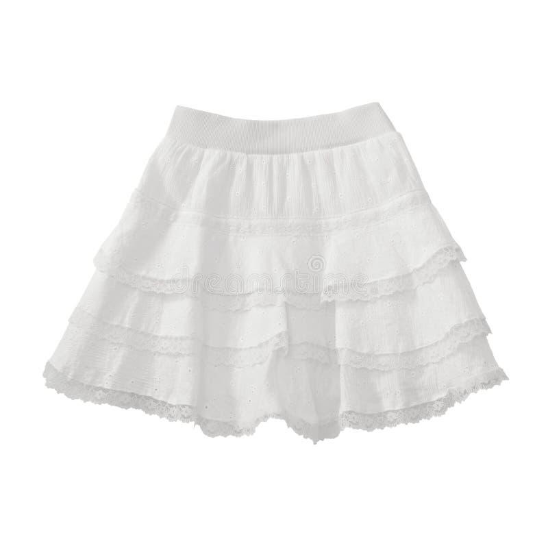 Белая юбка шнурка на белизне стоковая фотография rf