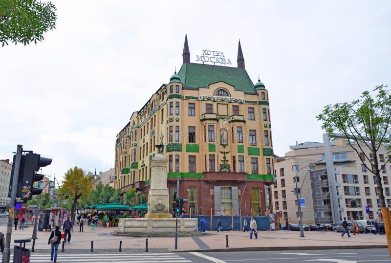 Белград, Сербия - 26-ое мая 2013 - взгляд гостиницы Москвы которая самая известная гостиница в городе в городе Белграда стоковая фотография rf