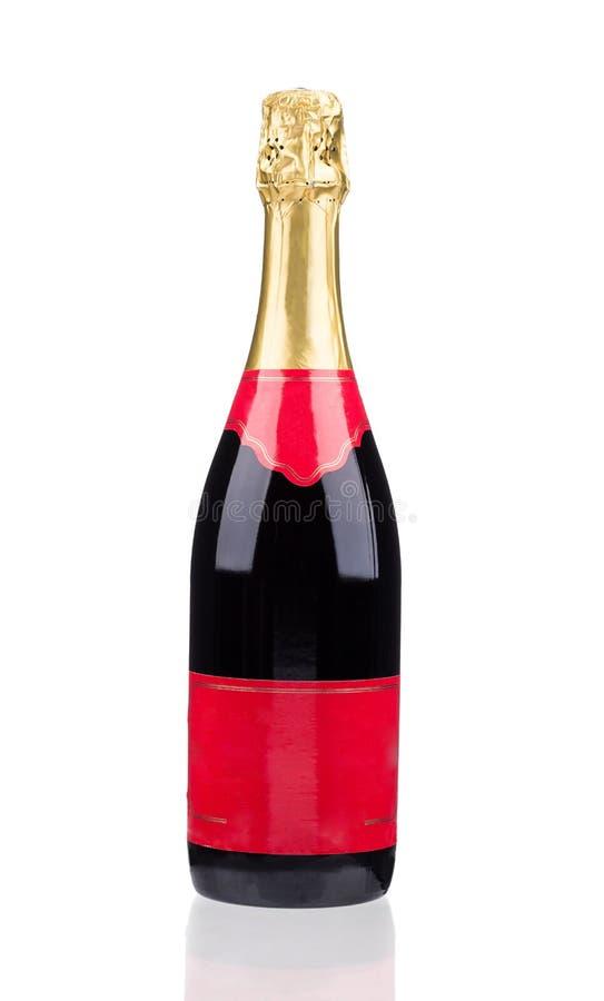 белизна бутылки изолированная шампанским стоковое фото rf
