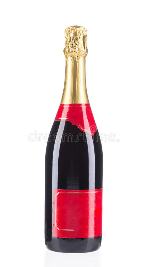 белизна бутылки изолированная шампанским стоковое изображение