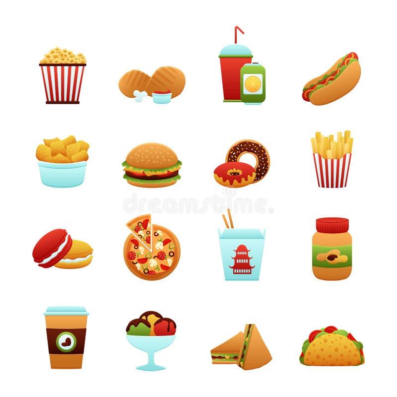 белизна быстро-приготовленное питания предпосылки изолированная иконой установленная иллюстрация вектора