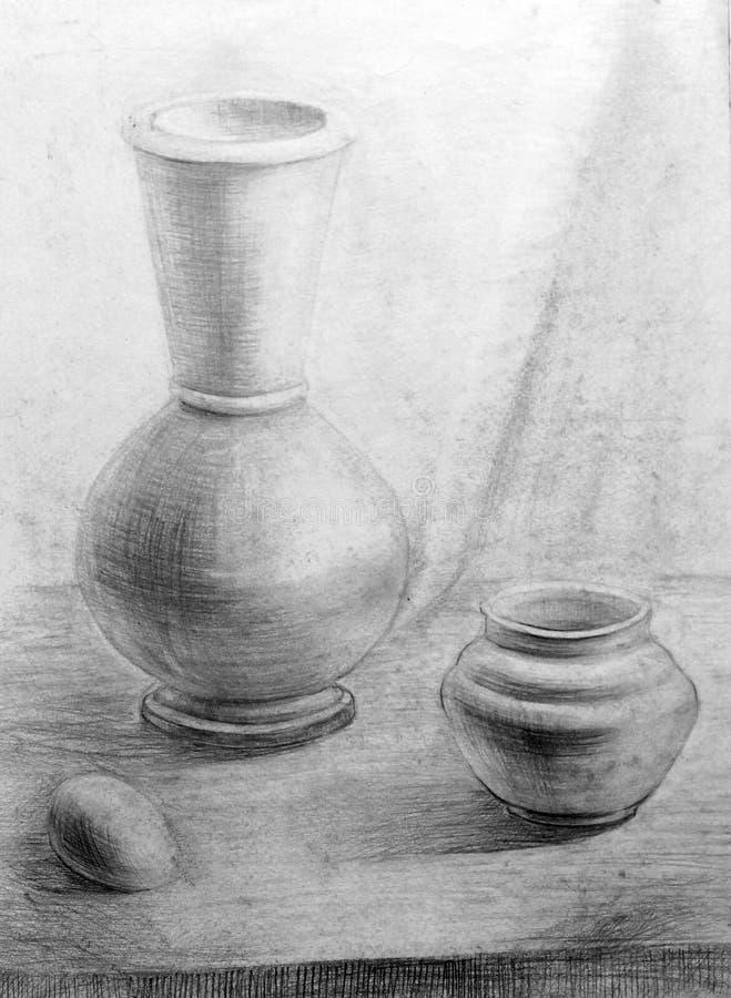 белизна вала карандаша чертежа предпосылки натюрморт, morte природы стоковая фотография