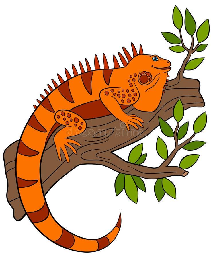 белизна вектора животных нарисованная шаржем изолированная рукой Милая оранжевая игуана сидит на ветви дерева иллюстрация штока