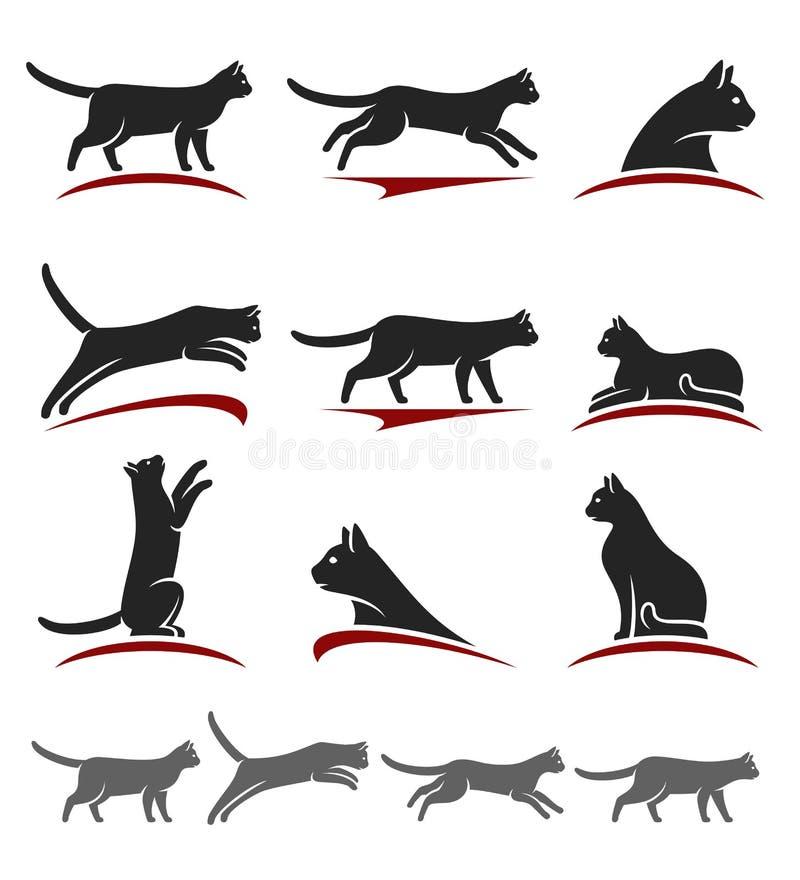 белизна вектора иллюстрации конструкции кота предпосылки установленная вектор иллюстрация вектора
