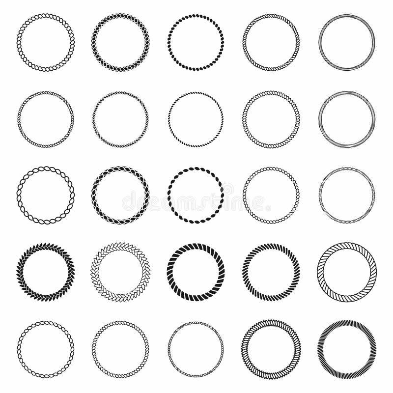 белизна веревочки рамки предпосылки Комплект круглых рамок вектора от морской веревочки Круглая морская веревочка для украшения бесплатная иллюстрация