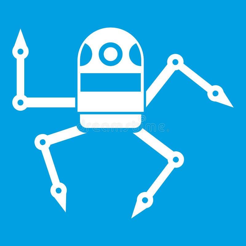Белизна значка робота паука иллюстрация штока