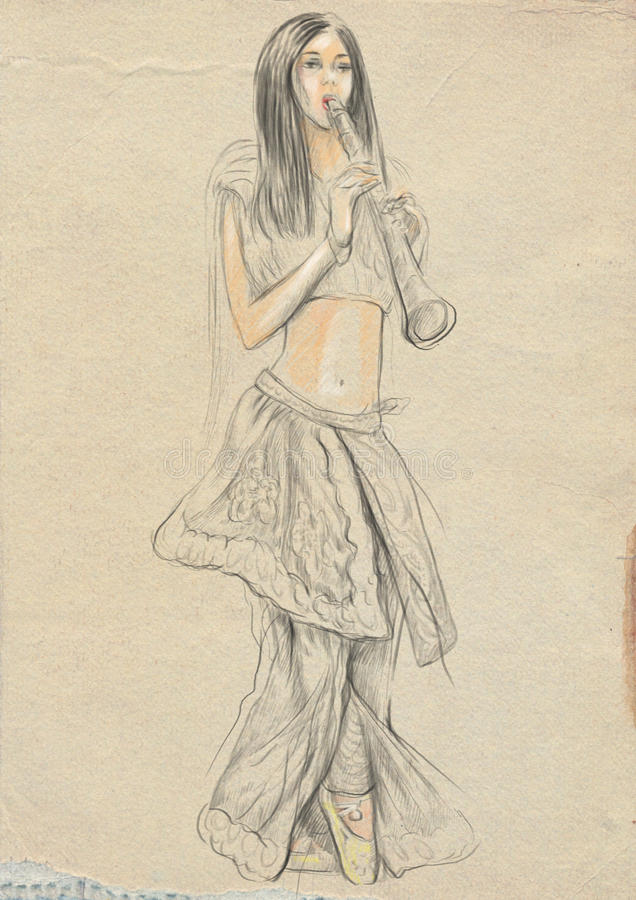белизна игрока предпосылки изолированная кларнетом Иллюстрация нарисованная рукой полноразрядная, первоначально иллюстрация вектора