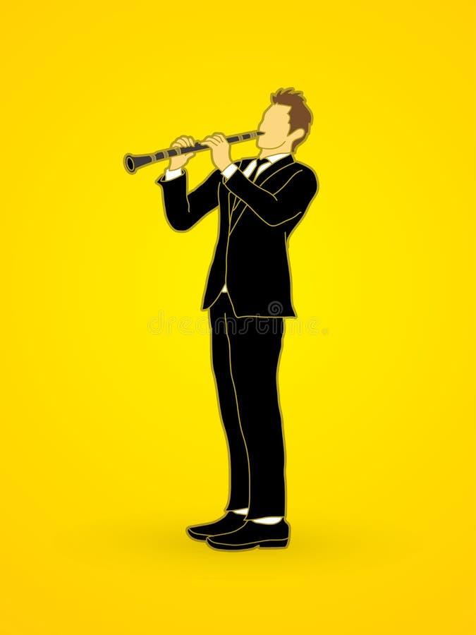 белизна игрока предпосылки изолированная кларнетом иллюстрация штока