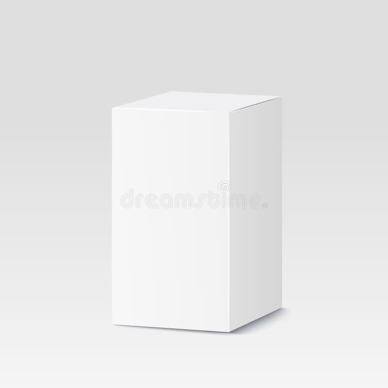 белизна изображения картона коробки предпосылки цифрово произведенная Белый контейнер, упаковывая также вектор иллюстрации притяж иллюстрация штока