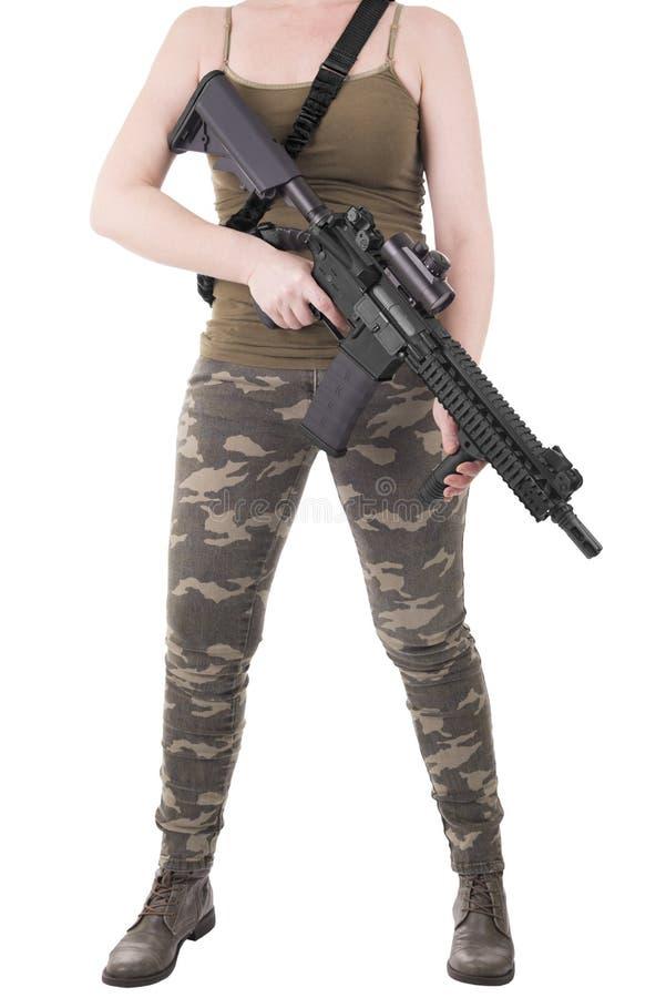 белизна изолированная девушкой воинская стоковые фотографии rf