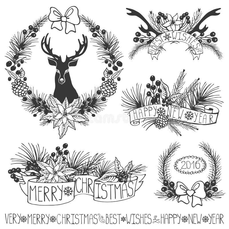 белизна изоляции декора рождества Ветви, puansetiya, ленты черный иллюстрация штока
