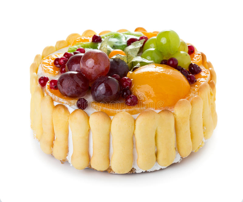 белизна изоляции плодоовощ торта стоковое фото