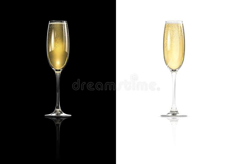 белизна изоляции шампанского стеклянная иллюстрация штока