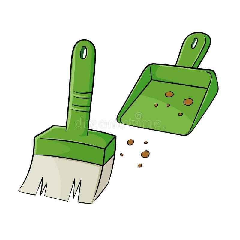 белизна инструмента чистки щетки предпосылки изолированная dustpan бесплатная иллюстрация