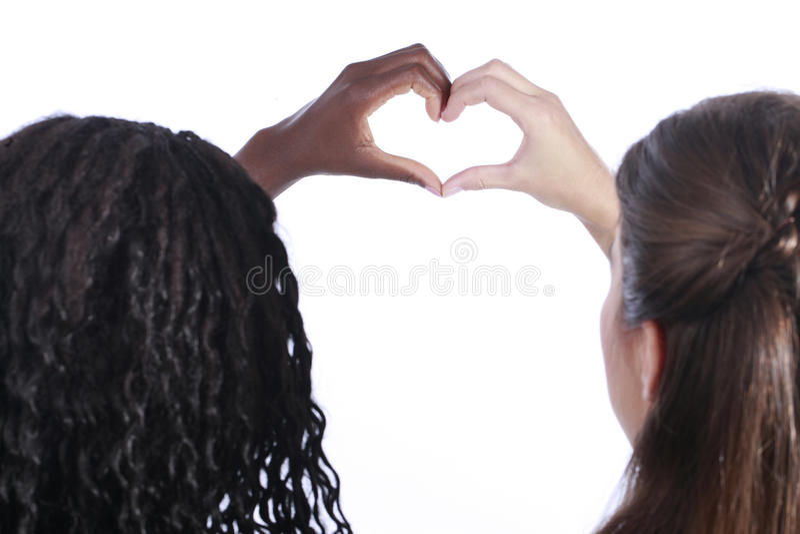 Белизна и шайки бандитов строя форму сердца стоковая фотография rf