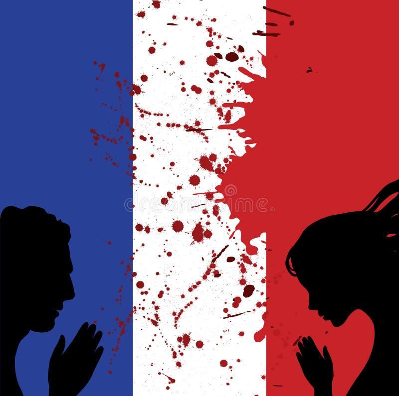белизна иллюстрации Франции флага предпосылки национальная Люди укомплектовывают личным составом и руки женщины молят для славног бесплатная иллюстрация