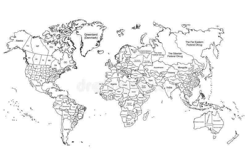Белизна карты мира иллюстрация штока