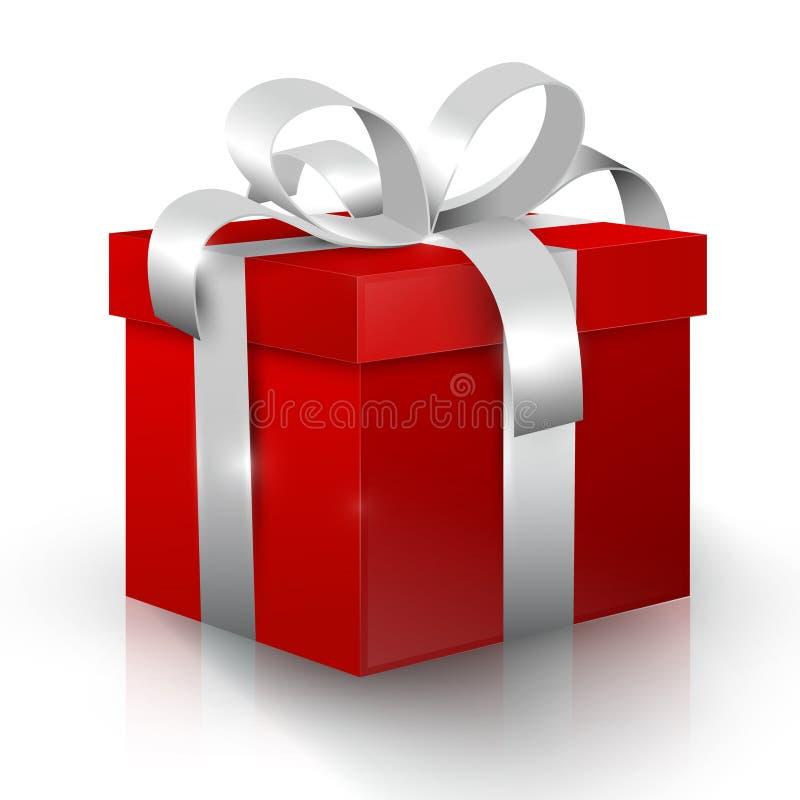 белизна коробки изолированная подарком Красная коробка настоящего момента вектора 3D иллюстрация штока