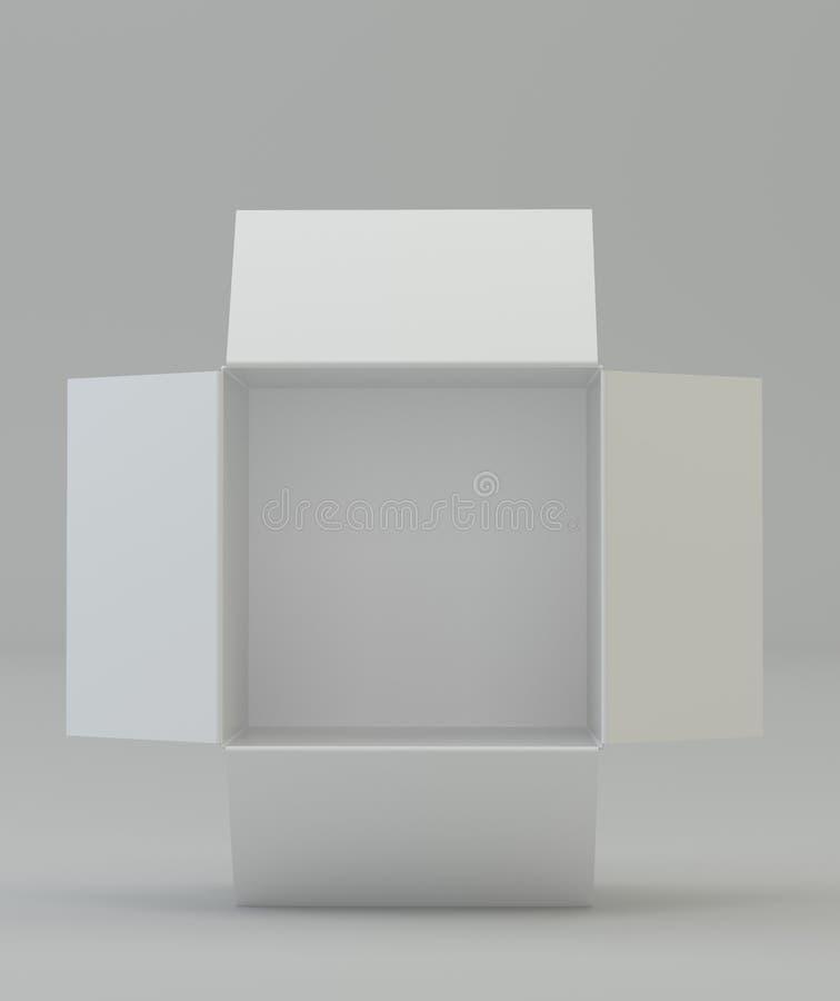 белизна коробки открытая Взгляд сверху стоковая фотография rf