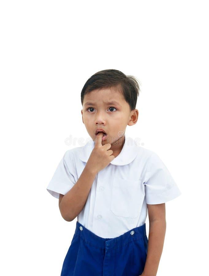 белизна мальчика предпосылки плача изолированная стоковые изображения rf