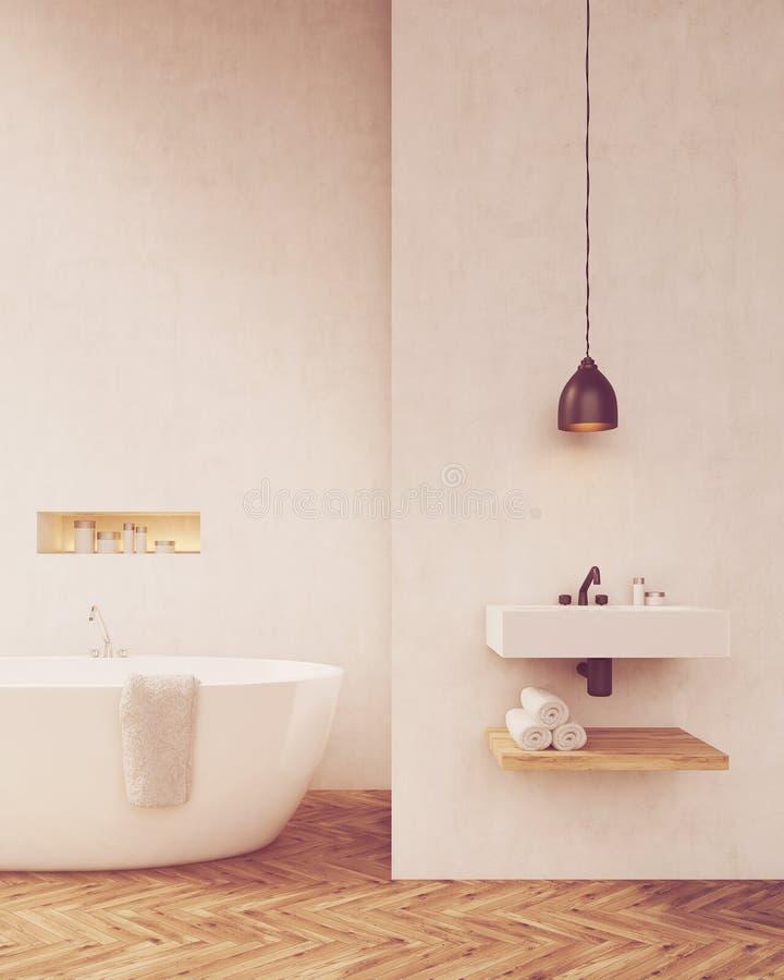 Белизна огораживает ванную комнату на солнечный день иллюстрация вектора