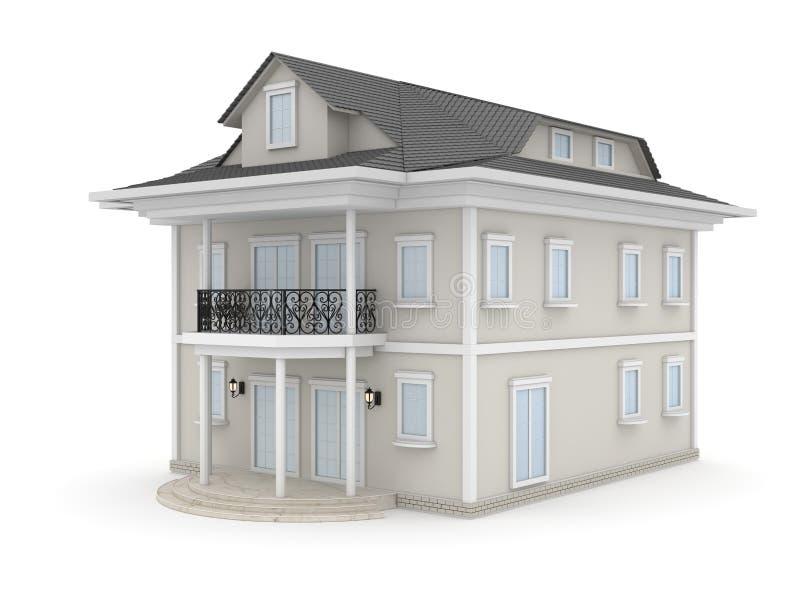 белизна дома семьи предпосылки 3d изолированная иллюстрацией иллюстрация вектора