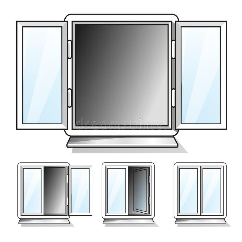 Белизна открытая и закрытые окна с прозрачным стеклом иллюстрация вектора