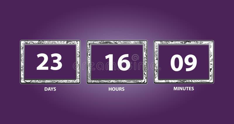 белизна отметчика времени иллюстрации конструкции комплекса предпусковых операций предпосылки счетчик часов вектора удерживание р стоковая фотография