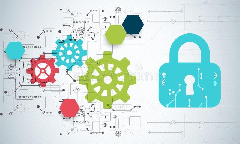 белизна предохранения от принципиальной схемы 3d изолированная изображением Механизм обеспечения безопасности, уединение системы бесплатная иллюстрация