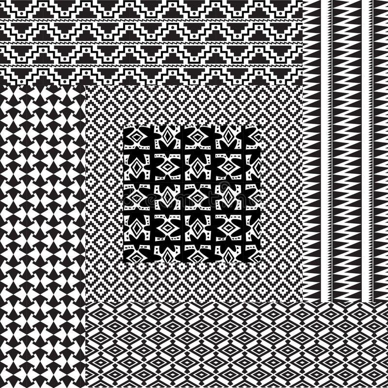 Белизна 6 примитивных картин безшовная черная иллюстрация вектора